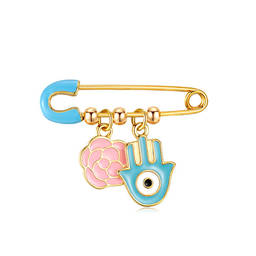 Best Selling Gold Enamel Evil Eyes Pink Rose Pin Brooch (china enamel pin)
