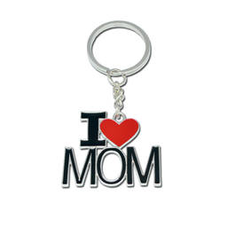 I Love Mom & Papa Keychain Mom Keyrings Metal Keychain (заказные брелки)