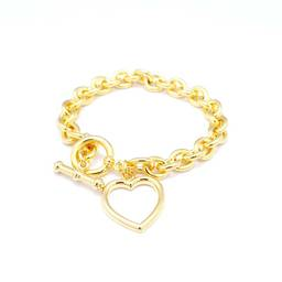 Custom metal alloy heart charm gold bracelet(bracelets for women)
