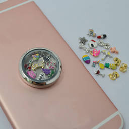 Best selling stainless steel fashion phone decorative locket charms(floating living locket charms)
