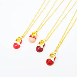 Wholesale Gold Enamel baby shoe charm necklace jewelry (Baby shoe pendant necklace)