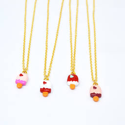 Gold plated metal enamel dessert charms necklace (Ice cream Pendant necklace)