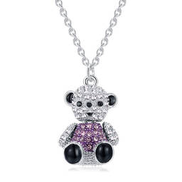 Wholesale Full Crystals Bear Necklace gift jewelry for girls(custom pendant necklace)