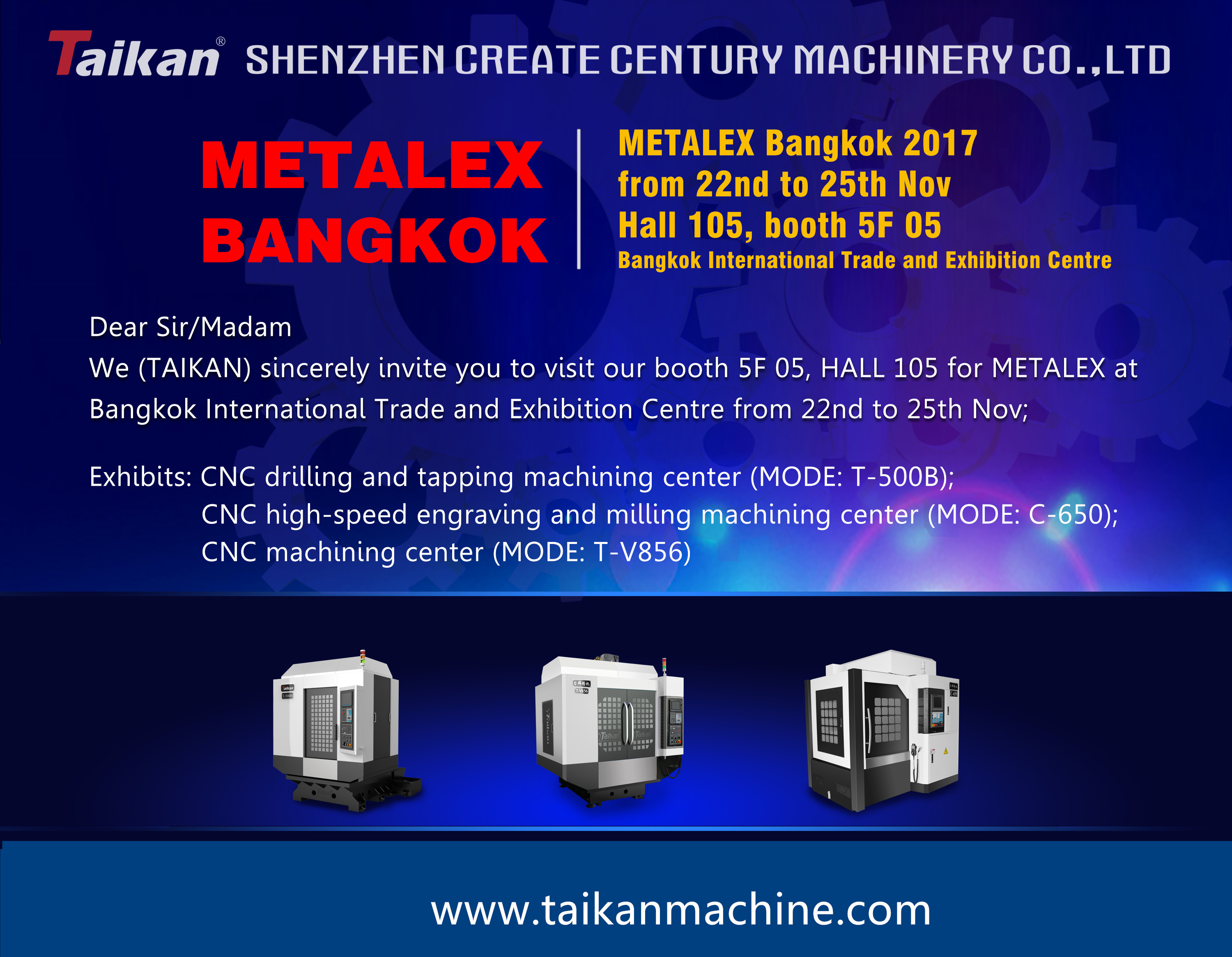 Taikan will attend METALEX 2017 in Bangkok Thailand