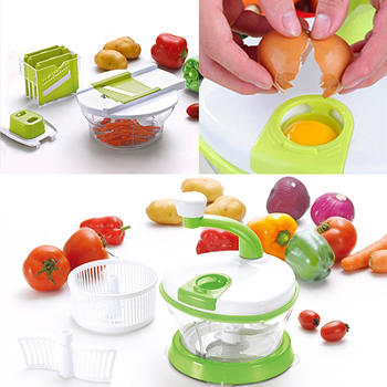 4 in 1 Hand-Powered Vegetable Mixer And Slicer  itemprop=