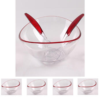 Salad bowl with 4pcs small food bowls and servers  itemprop=