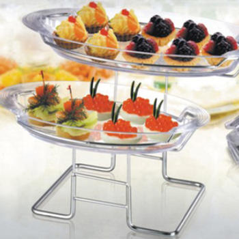 2-Tier Blossom Dessert Tray, cake stand wedding plastic tray itemprop =