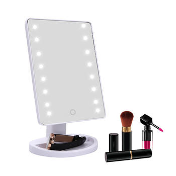 Sentuhan Pintar LED Makeup Mirror-16 LED Lighted Makeup Cermin Cermin membawa besar itemprop =