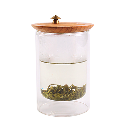 Glass Tea Cup dengan Bamboo Lid, Glass Mug, Water Cup, Coffee Cup