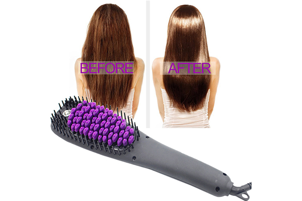 Electric lcd hair straightening brush
