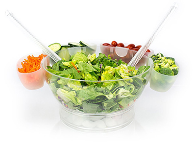 Salad Bowl On Ice with 4 Side Servers
