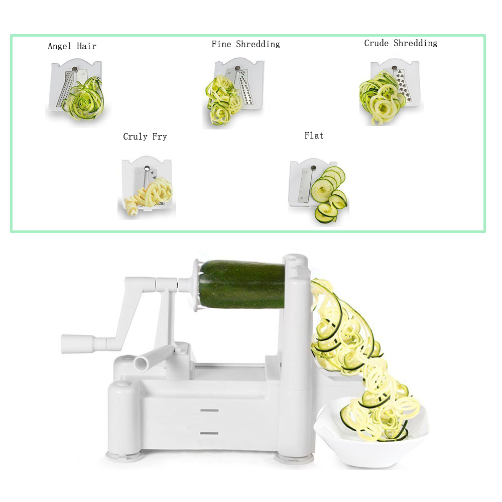 5-blades vegetable spiral slicer,vegetable spiralizer