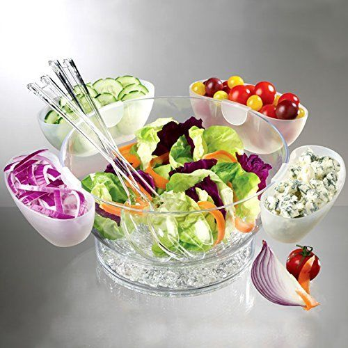 Salade Bowl On Ice Met 4 Side Servers