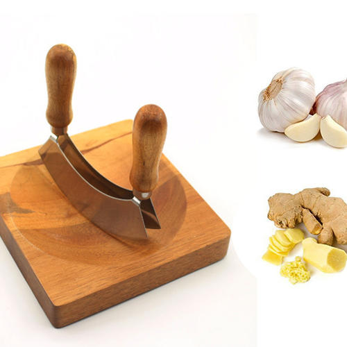 Wood Handle Stainless Steel Pizza Cutter Vegetable Chopper Herb cutter
