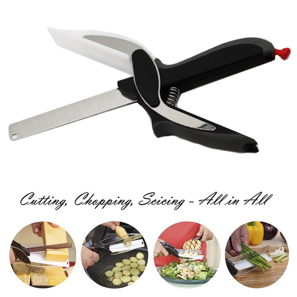 2-in-1 Food Chopper Cutter-Stainless Steel Knife with Cutting Board,Kitchen Knife and scissors