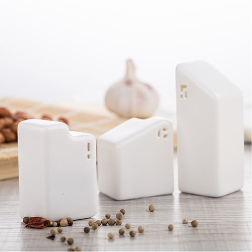 Ceramics Salt and Pepper Shakers, Set of 3 Salt and Pepper Canister