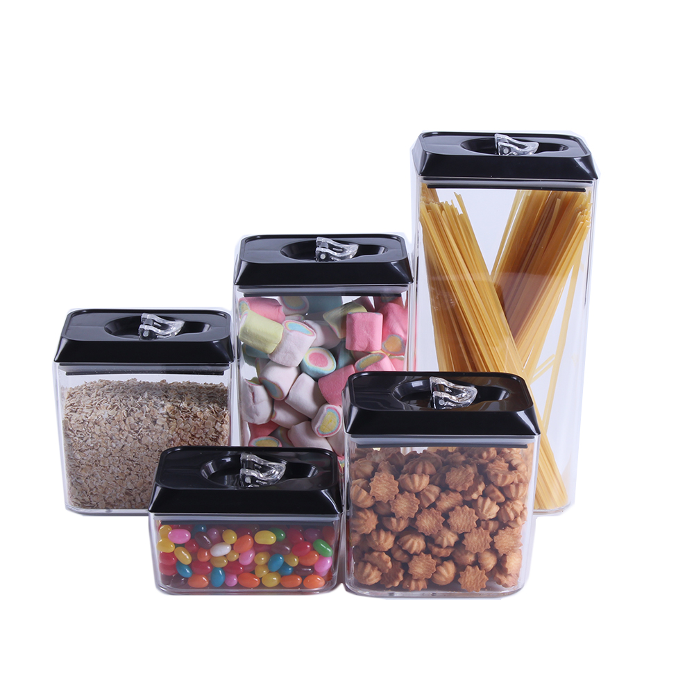 5 Piece Airtight Acrylic Canister Set Food Storage Container