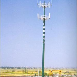 Galvanized Telecom Mobile Signal Antenna Monopole Tower