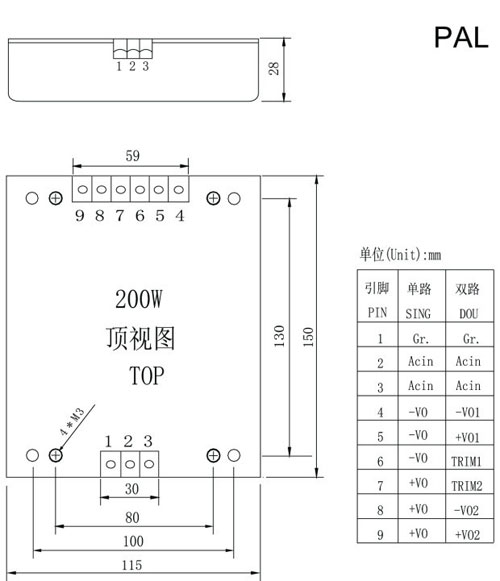 PAL200-300 Series ac dc converter 220v 48v