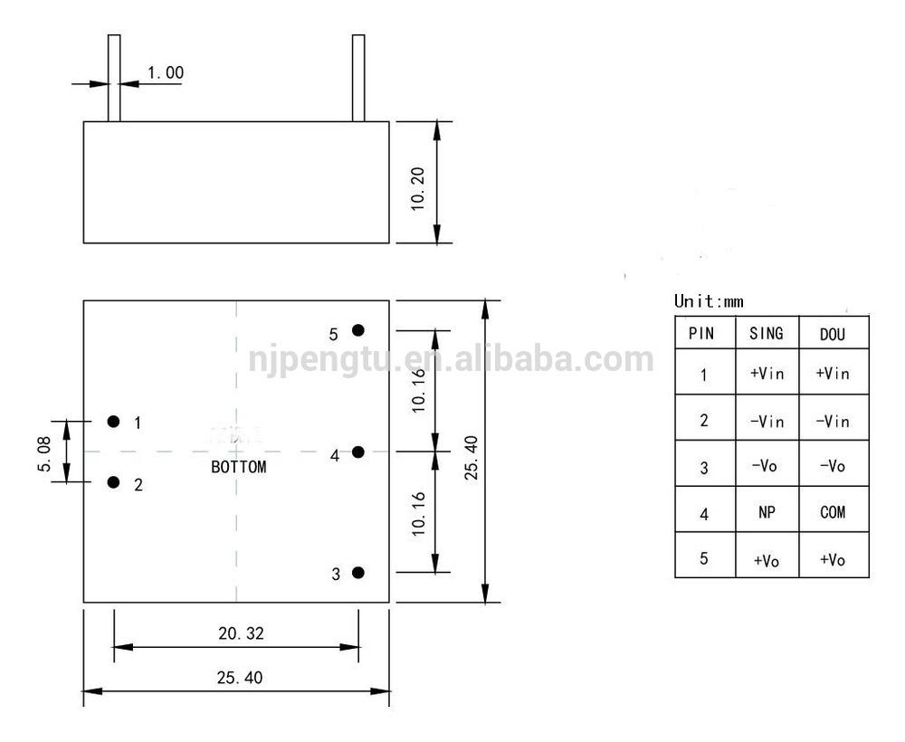 PD-A Series 3-5W dc dc converter 12v
