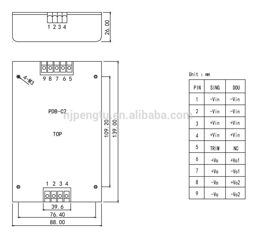 PDB-C2 100-150W dc dc buck converter