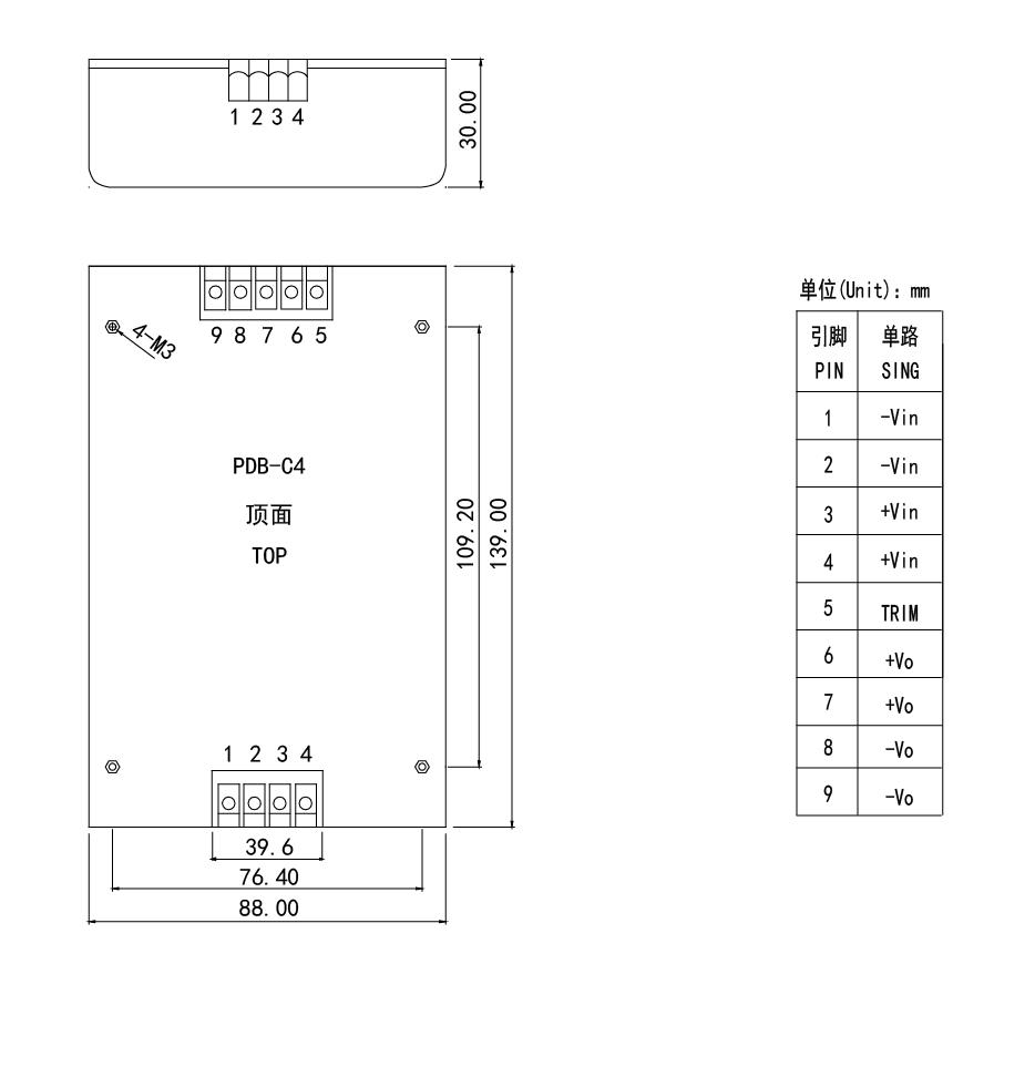 PDB-C4 100-150W dc dc power supply