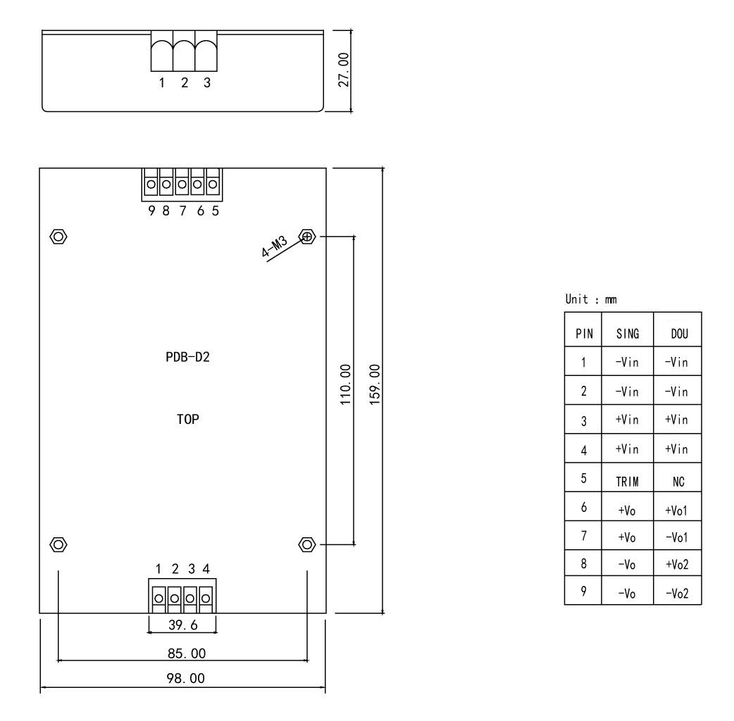 PDB-D2 Series 100-300W isolated dc dc converter