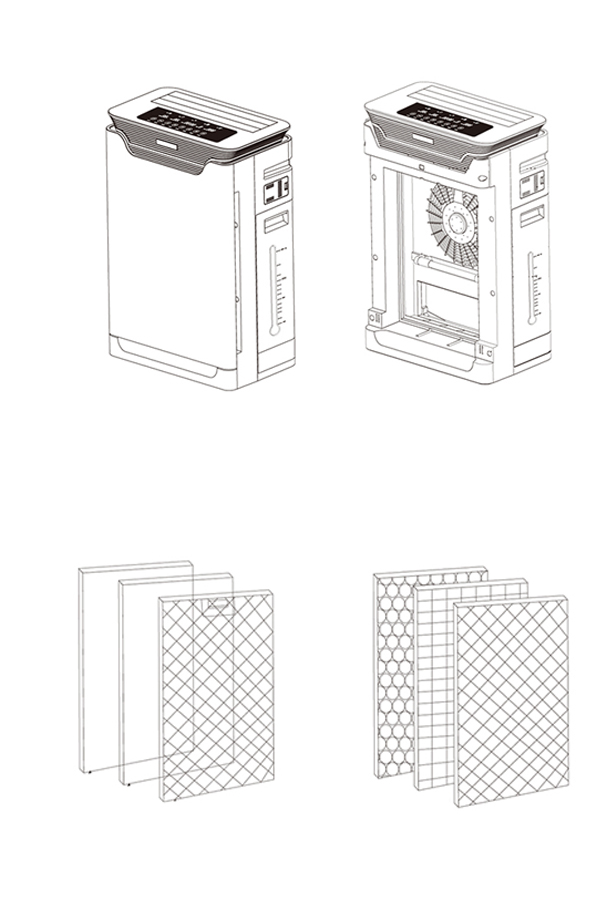 تنقية الهواء المنزلية الترطيب H8