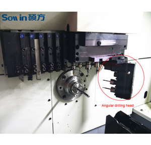 Customized CNC Swiss type lathe with an angular drilling head, angular drilling head