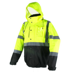 Safety High Visibility Windbreaker Water Resistant Heated Laborer Jacket