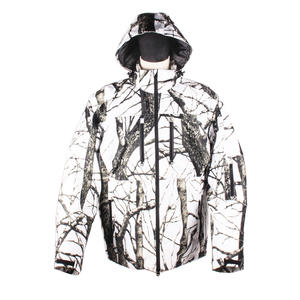 Windbreak Snowy Ground White Camouflage Heated Hunting Jacket For Winter
