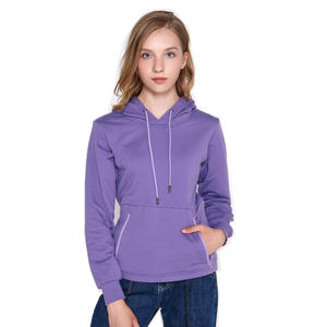 Women Cotton Plain Hooded Heat Transfer Heated Pullover With Slim Style