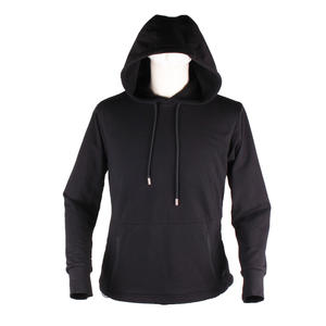 Black Embroidery Patch Unisex Cotton Heated Pullover Hoodie