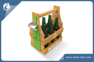 OEM/ODM Hand-held 6 Bottle Wooden Beer Holder
