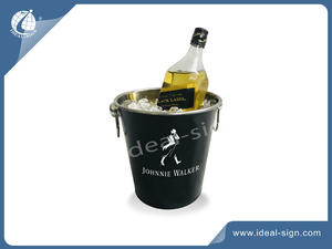 Stainless Steel Black Ice Bucket With 2 Ring-shaped Handles