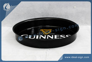 Factory price for Guinness round shape metal serving tray supplier