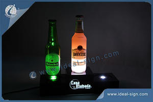 Wholesale Custom made lighted led light bottle base liquor bottle display shelf for display the brand