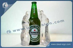 Custom made lighted bottle display in acrylic and resin material for wholesale