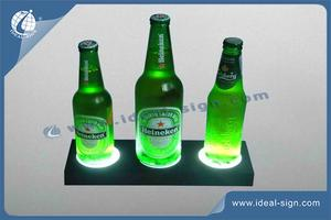 LED Acrylic Liquor Bottle Display Standing / Glorifier PS Injection Plastic Case