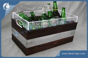 China supplier for wooden retro style ice buckets beer cooler custom made party ice buckets