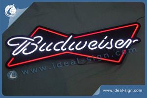 Budweiser Beer Neon Signs Black Acrylic Panel And LED Optical Neon Signs Colored White And Red