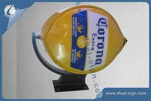 Lemon Shape Wall Mounted Outdoor Rotating Bar Signs For Brand Display