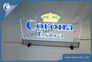 Custom LED edge lit display with base illuminated acrylic table signs