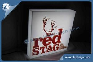 RED STAG Square Shape Indoor LED Signs / Acrylic LED Light Box  For Bar Promotion