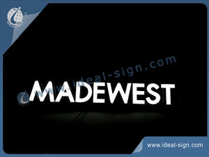 Black Acrylic Panel And LED Optical Neon Signs Colored White For MADEWEST Beer Brand Displaying