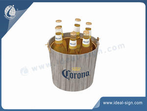 customized metal wine bucket with wood decoration in bulk quantity