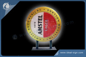 Round AMSTEL Outdoor Light Sign Exterior Wall Mounted Sign