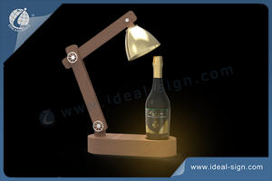 Table Lamp Style Wooden Bottle Display