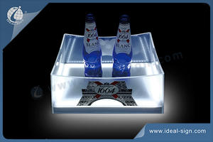 Square LED Illuminated Transparent Acrylic Ice Buckets