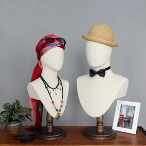Customized fabric linen display mannequin head with shoulder for accessories display